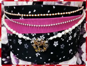 浴衣&振袖&袴に♪ラインストーン帯飾り3連チェーンフラワーリングイエロー