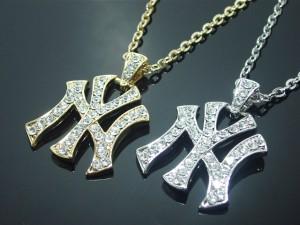 ラインストーンNewYorkネックレス・メール便(ゆうパケット)送料無料・NY・ニューヨーク・ダンサー・N-877-1