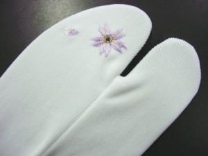 振袖&袴&着物に♪ラインストーン刺繍ストレッチ足袋桜白