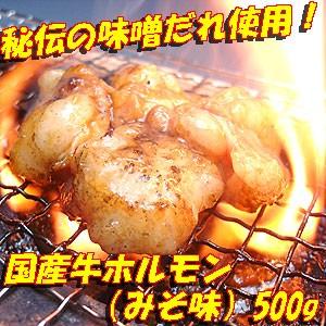 国産牛とろとろホルモン(みそ味) 500g【B級グルメ】焼肉・モツ鍋にどうぞ!