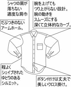 えり回り44 紳士長袖ワイシャツ カッターシャツ ホワイト Super Easy Care DEEP OCEAN COLLECTION