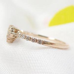 ハート パヴェ 0.18ctダイヤモンド K18ピンクゴールド:送料無料