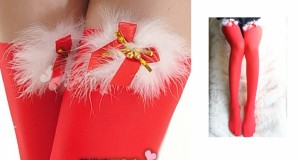 【即納】鈴付きボアモコ クリスマスバージョン サンタコスチュームに最適 赤レッドタイツ/ストキング/靴下/ソックス