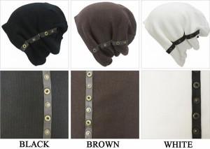 ニット帽/ボタン付きロングワッチ/ビーニー、キャップ