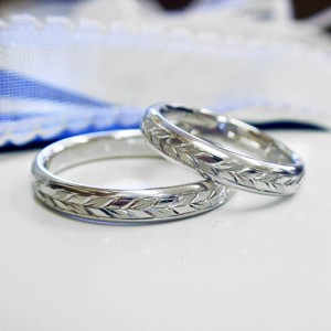 【ペア価格:結婚指輪】月桂樹 プラチナ ペアリング 文字刻印無料 送料無料