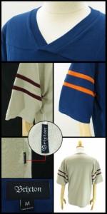 ブリクストン ターナー S/S Vネック ジャージ ラスト:クリーム、バーガンディー/S (Brixton TURNER V-NECK JERSEY Tシャツ)