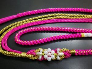 振袖成人式&着物に パール飾り付2色使い正絹帯締め帯〆濃ピンク