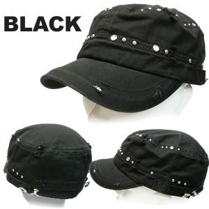 帽子 ダメージ加工&ストーン付きワークキャップ 帽子男女兼用