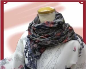 着物&洋装に♪くしゅくしゅリバーシブルショールマフラー薔薇&ドット