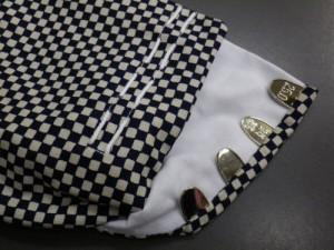 着物に 粋なメンズ男物男性柄足袋こはぜタイプ市松濃紺きなり(25.0〜28.0)