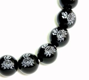 【送料無料】ブラック&和のテイストがクール・蓮華オニキス天然石ブレスレット パワーストーンφ12mm【誕生日・プレゼントに最適】