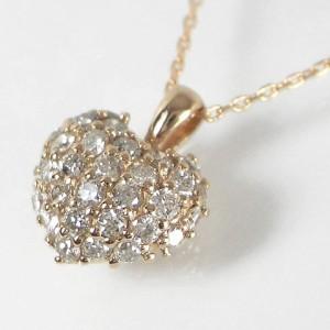 0.3ctダイヤモンドのハートパヴェ K18ピンクゴールドネックレス