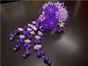 振袖成人式&袴に♪舞妓風花珠ダラリ髪飾り(かんざし)紫可憐花