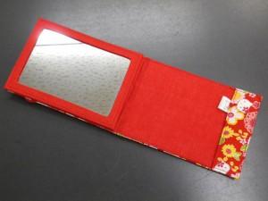 和×キティちゃんコラボ 和柄携帯立て鏡赤