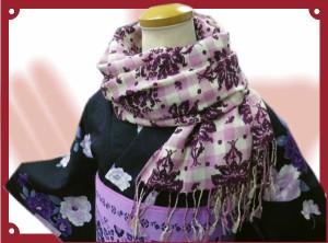 ショールマフラーモスピンク可憐花チェック 着物&洋装に