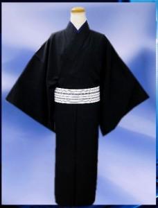 お正月&各記念日に お仕立て上がり男物男性着物5点セット黒M・L・LL