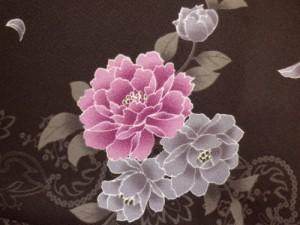 冬の必需品♪小粋な長羽織濃茶地牡丹唐草M・L