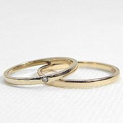 結婚指輪 ゴールド 一粒ダイヤモンド ペアリング マリッジリング イエローゴールドK18 2本セット 18金 送料無料