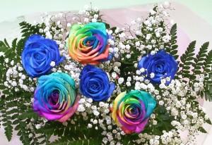 レインボーローズ虹色のバラと青いバラの夢のブーケ【プレゼント】【お誕生日】【wd】