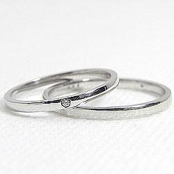 ペアリング 結婚指輪 マリッジリング ホワイトゴールドK18 ダイヤモンド 指輪 送料無料 2本セット K18WG