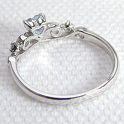 Pt900ピンキーリング ブルームーンストーンティアラリング 指輪プラチナ900 6月誕生石 ハート◆送料無料