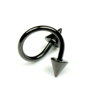 メール便送料無料 スパイラル コーン ブラック 14ゲージ(1.6ミリ) スパイク ステンレス Anodized加工 ボディピアス 14G (1.6mm)  ┃