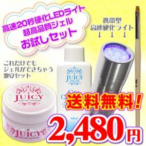 送料無料!これだけでジェルができる!高速硬化LEDライトと高品質クリアジェルのお試しセット ペン型ジェルネイルキット chotoku
