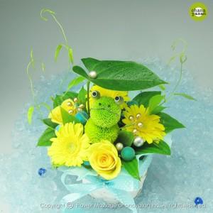『開運☆花かえる』贈り物にぴったりなかわいいカエルのアレンジメント/縁起のいいフラワーギフト