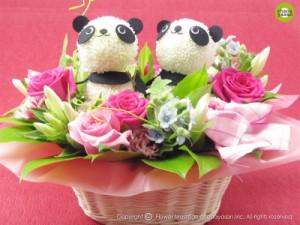 ポイント10%「花パンダ・ペア」/お祝い・誕生日プレゼント・結婚記念日のフラワーギフト☆