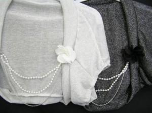 パール花コサージュつきラメ入りボレロ☆パーティードレス キャバドレス フォーマルドレス 結婚式 羽織り物 ダンス衣装