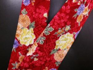 振袖&着物に♪和柄半衿赤色地牡丹古典花