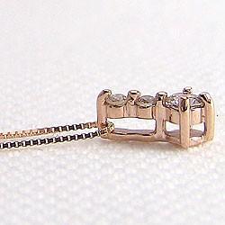 ダイヤモンドネックレス スリーストーン ダイヤペンダント ピンクゴールドK10 トリロジー 10金