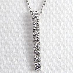 ダイヤモンド ネックレス アイライン 縦長 ホワイトゴールドK10 ペンダント 10金