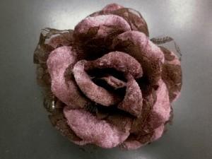 振袖成人式&袴・浴衣に 髪飾り(コサージュ)茶レース薔薇