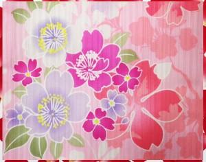 夏粋浴衣・結び帯(付け帯)・下駄or髪飾り3点セットピンク地枝垂桜