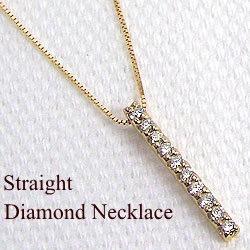 ダイヤモンド ネックレス アイライン 縦長 イエローゴールドK18 ペンダント 18金