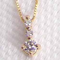 ダイヤモンドネックレス スリーストーン ダイヤペンダント イエローゴールドK10 トリロジー 10金