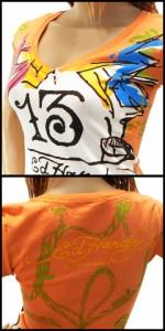 【送料無料☆即日発送♪】 39%OFF エドハーディー シー ノー イーブル パンク チュニックTシャツ オレンジ (ED HARDY WOMEN)