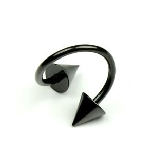 メール便送料無料 スパイラル コーン ブラック 14GA(1.6mm) スパイク サージカルステンレス BLACK  ボディピアス ボディーピアス ┃