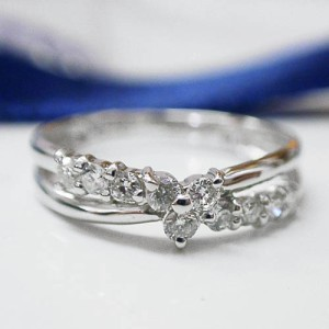 0.16ctダイヤモンド☆1号サイズ〜シンプルデザイン♪K18WGリング