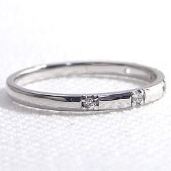 スリーストーン ダイヤリング トリロジー ホワイトゴールドK18 指輪 18金 ピンキーリング 天然ダイヤモンド 0.03ct 究極diaring