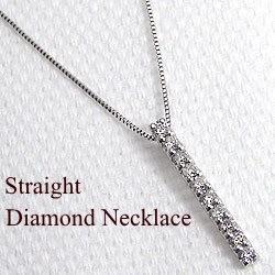 ダイヤモンド ネックレス アイライン 縦長 ホワイトゴールドK18 ペンダント 18金
