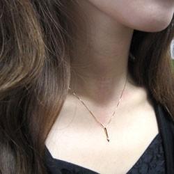 一粒 ダイヤモンド ネックレス ストレート 縦長 ピンクゴールドK18 ペンダント 18金