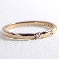 ファイブストーン ダイヤリング ピンクゴールドK10 指輪 10金 ピンキーリング ダイヤモンドリング 0.05ct 究極diaring