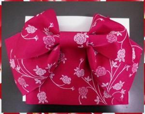 夏粋浴衣&結び帯付け帯2点セット黒地薔薇蝶