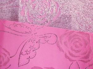 浴衣ゆかた&袴に♪小粋な半巾帯半幅帯ピンク地銀ラメ薔薇蝶