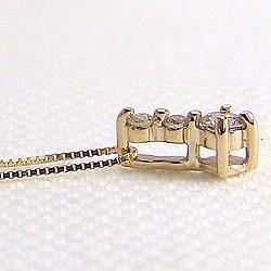 ダイヤモンドネックレス スリーストーン ダイヤペンダント イエローゴールドK18 トリロジー 18金