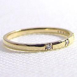 スリーストーン ダイヤリング トリロジー イエローゴールドK18 指輪 18金 ピンキーリング 天然ダイヤモンド 0.03ct 究極diaring