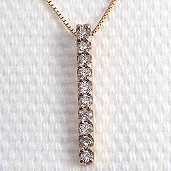 ダイヤモンド ネックレス アイライン 縦長 ピンクゴールドK18 ペンダント 18金
