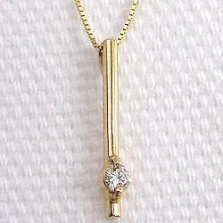 一粒 ダイヤモンド ネックレス ストレート 縦長 イエローゴールドK10 ペンダント 10金